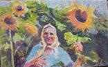 "В.Кнышевский ""Лето.Подсолнухи"",х.м.25*40см,1981г, фото №2"