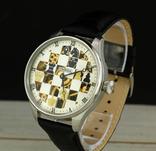Часы марьяж Omega скелетон шахматы, механизм 1910х годов, фото №3