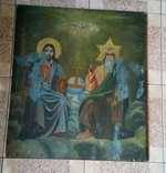 Икона старинная большая Святая Троица 81 х 71 см, фото №2