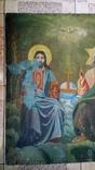 Икона старинная большая Святая Троица 81 х 71 см, фото №3