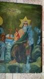 Икона старинная большая Святая Троица 81 х 71 см, фото №4