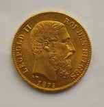 Бельгия, 20 франков 1875г. aUNC, фото №2