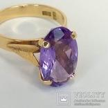Винтажное золотое кольцо с натуральным аметистом, фото №4