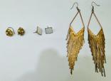 3 винтажные серьги, латунь, бронза, вставки., фото №2