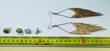 3 винтажные серьги, латунь, бронза, вставки., фото №6