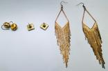 3 винтажные серьги, латунь, бронза, вставки., фото №7