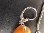 Серьги и кулон СССР с пейзажным янтарем . Серебро 925*, фото №7