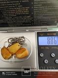 Серьги и кулон СССР с пейзажным янтарем . Серебро 925*, фото №12