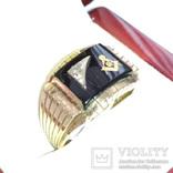 Мужское золотое кольцо с масонской символикой и бриллиантом, фото №2