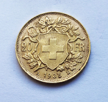 20 франков 1935 года. Швейцария. UNC., фото №2