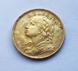 20 франков 1935 года. Швейцария. UNC., фото №3