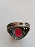 Кольцо серебряное с рубином, фото №5