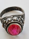 Кольцо серебряное с рубином, фото №6