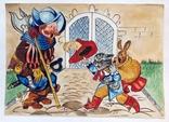 1976  Детский рисунок. Кот в сапогах. 21х29,5, фото №2