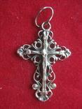 Крестик, крест серебро, 1.4 грамм, фото №2