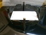 Пепельница большая винтаж СССР стекло бронза чеканка, фото №6