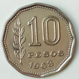 10 песо 1968 г. Аргентина, фото №3