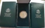 США 1 доллар 1990 г. 100-летие Эйзенхауэра. Серебро. Коробка,, фото №2