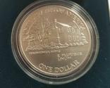 США 1 доллар 1990 г. 100-летие Эйзенхауэра. Серебро. Коробка,, фото №4