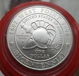 США 1 доллар 2002 г. 200-летие военной академии Вест-Поинта. Серебро, фото №3