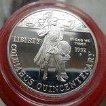США 1 доллар 1992 г. Серебро 500-летие открытия Колумбом Америки. Корабль, шаттл . Пруф, фото №2