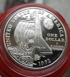 США 1 доллар 1992 г. Серебро 500-летие открытия Колумбом Америки. Корабль, шаттл . Пруф, фото №3