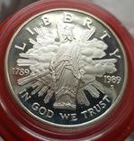 США 1 доллар 1989 г. 200-летие Конгресса США. Серебро. Пруф, фото №2