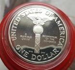 США 1 доллар 1989 г. 200-летие Конгресса США. Серебро. Пруф, фото №3
