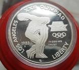 США 1 доллар 1983 г. XXIII Летние Олимпийские игры 1984 года в Лос-Анжелесе. Серебро Пруф, фото №2