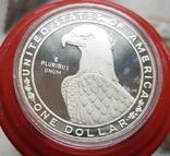 США 1 доллар 1983 г. XXIII Летние Олимпийские игры 1984 года в Лос-Анжелесе. Серебро Пруф, фото №3