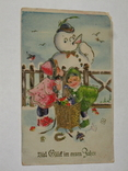 Открытка 1933-1945 Рейх Новогодняя Сниговик   №129, фото №2