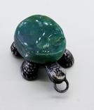Подвеска Черепашка с зелёным камнем, 18,37 грамм, фото №2