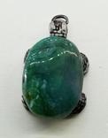 Подвеска Черепашка с зелёным камнем, 18,37 грамм, фото №4