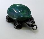 Подвеска Черепашка с зелёным камнем, 18,37 грамм, фото №9