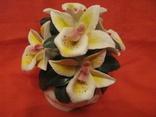 Статуэтка - Букет орхидей в вазе - фарфор., фото №3