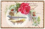 Старинная поздравительная с тиснением. Розы, пейзаж. П/п 1911 г., фото №2