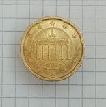 """20 евроцентов 2008г """"F"""" Германия Бранденбургские Ворота, фото №2"""