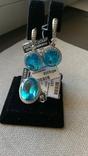 Серьги и кольцо серебро 925,  вставки голубой кварц., фото №2
