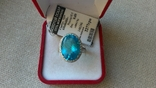 Серьги и кольцо серебро 925,  вставки голубой кварц., фото №6