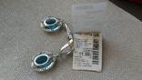 Серьги и кольцо серебро 925,  вставки голубой кварц., фото №10