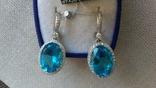 Серьги и кольцо серебро 925,  вставки голубой кварц., фото №12