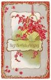 Старинная поздравительная с тиснением. Корзинка с цветами. П/п 1910 г., фото №2