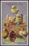 Старинная пасхальная с тиснением. Цыплята, корзинка с крашеными яйцами. П/п 1911 г., фото №2