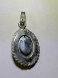 Кулон из серебра с малахитовой вставкой и золотым цветком, фото №3