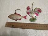 Старые картонные елочные игруши петушок и рыбка, фото №2