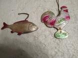 Старые картонные елочные игруши петушок и рыбка, фото №3