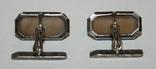 Серебрянные запонки СССР с агатом (проба 875.,Ленингр.инсп.проб.надз.) 4,4 грамма, фото №3