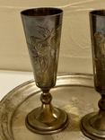 Пара рюмок на подносе. Киев 1955. Серебро 875. Вес 155,33 грамм, фото №4