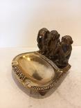 Нимор. Бронзовая статуэтка, пепельница -Три обезьяны - бронза, латунь., фото №3