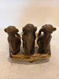 Нимор. Бронзовая статуэтка, пепельница -Три обезьяны - бронза, латунь., фото №5